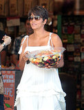 Halle Berry wore a white dress.