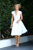 Julianne Hough wore a crisp white dress for the baby shower.