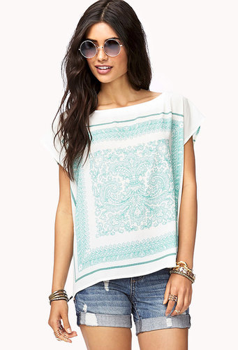 FOREVER 21 Scarf Print Georgette Top