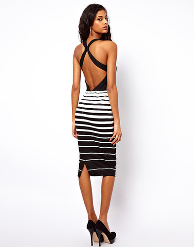 ASOS Stripe Pencil With Knot Back