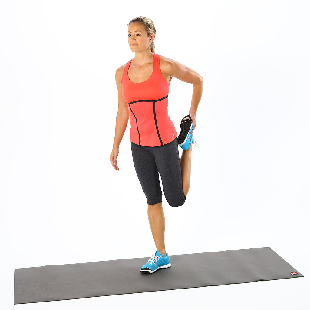 Best quad stretches popsugar fitness for Floor quad stretch