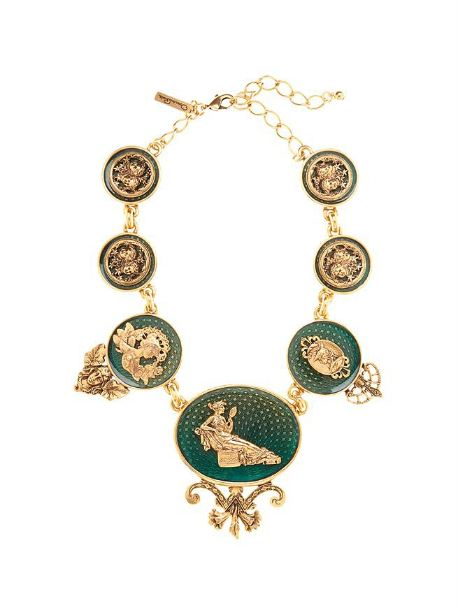 Oscar de la Renta's Fall 2013 collection is currently available for preorder, and one of my favorite pieces from it is this Toile Necklace ($890). It's definitely a statement piece, and it's a great way to add the look of the collection to your wardrobe without committing to a $13,990 gown. — JF
