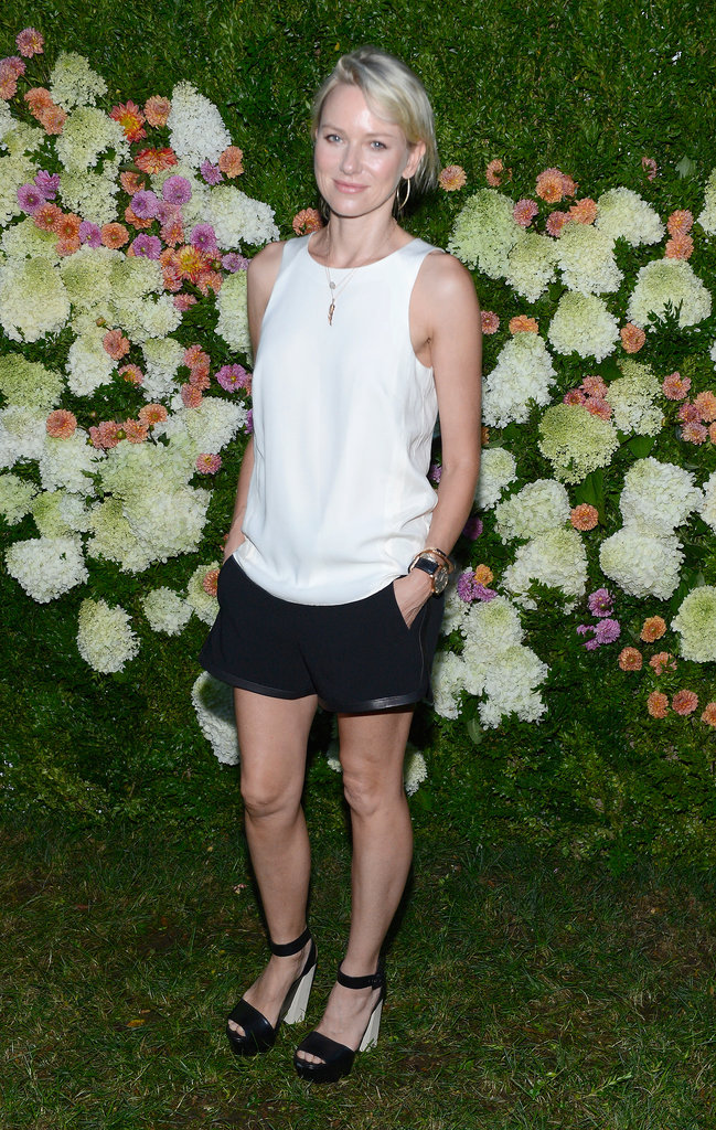 Naomi Watts was casual and cool in a white tank and black shorts at a Rag & Bone Summer dinner in East Hampton.