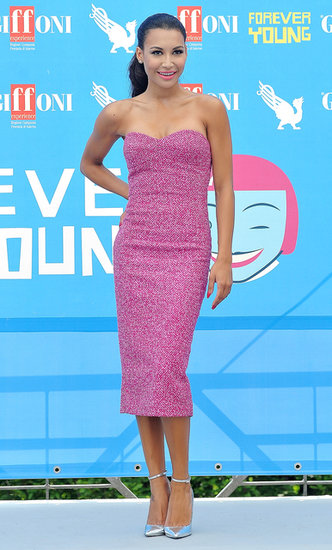 Naya Rivera showed off her retro side in a pink strapless Michael Kors dress and silver ankle-strap pumps at the 2013 Giffoni Film Festival in Italy.