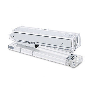 An Acrylic Stapler ($13, originally $34) practically disappears, making desk top clutter less noticeable.