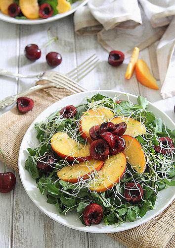 Peach & Cherry Watercress Salad