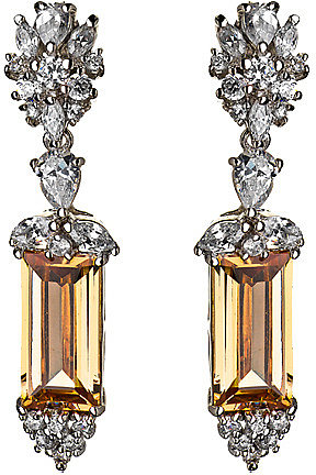 Tang and Song Silver Champagne CZ Rectangle Drop Earrings