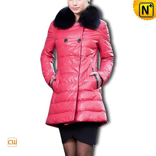 Women Rose Leather Down Coat CW610015 - cwmalls.com