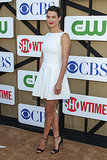 How's this for minimalist chic? Cobie Smulders was perfectly summery in a ladylike white mini and a pair of ankle-strap heels.