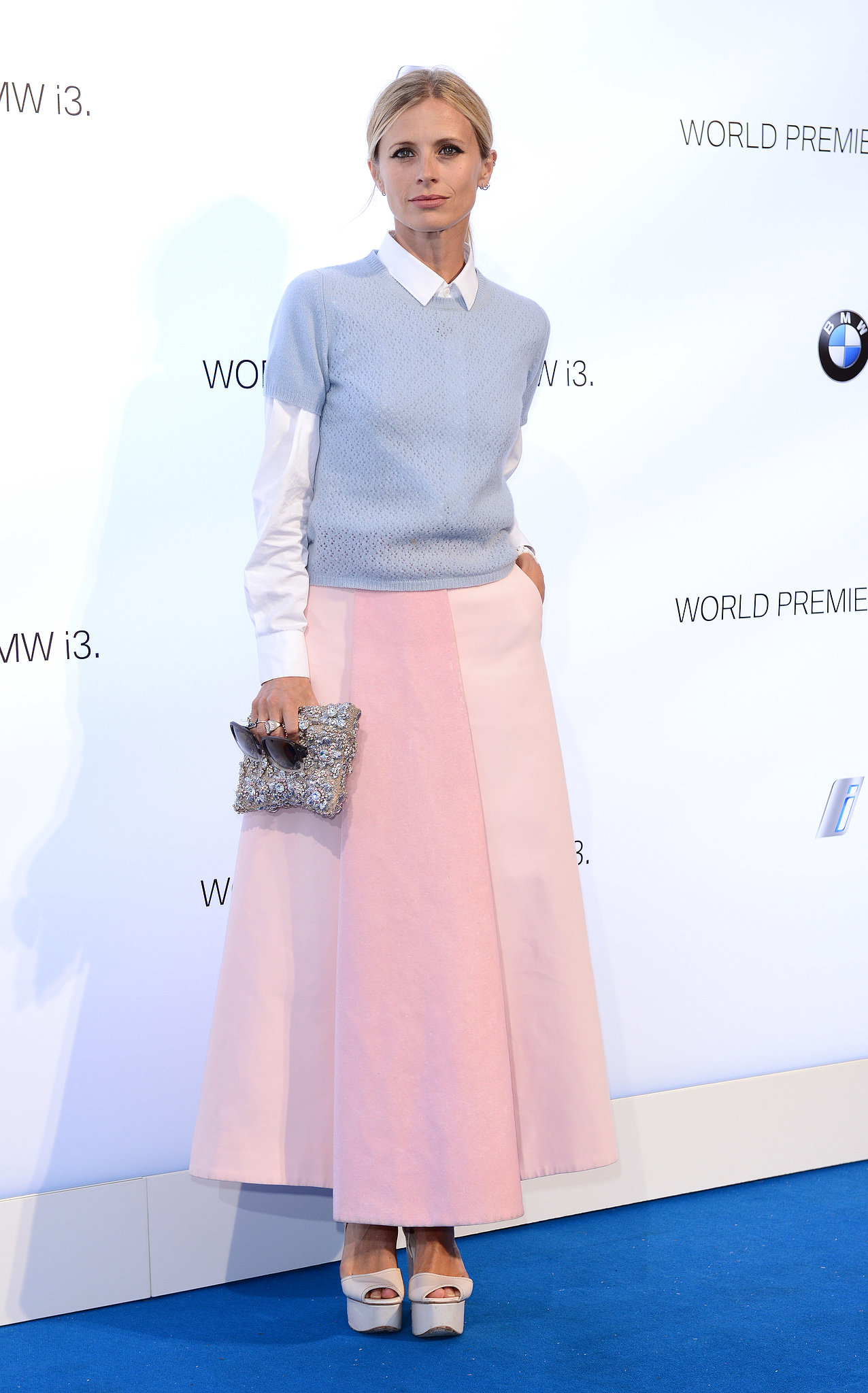 Looking sweet and chic in her colorblock pastels, Laura Bailey helped reveal BMW's electric car, the i3.