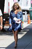 Jennifer Aniston arrived on set while wearing a blue dress on July 30.