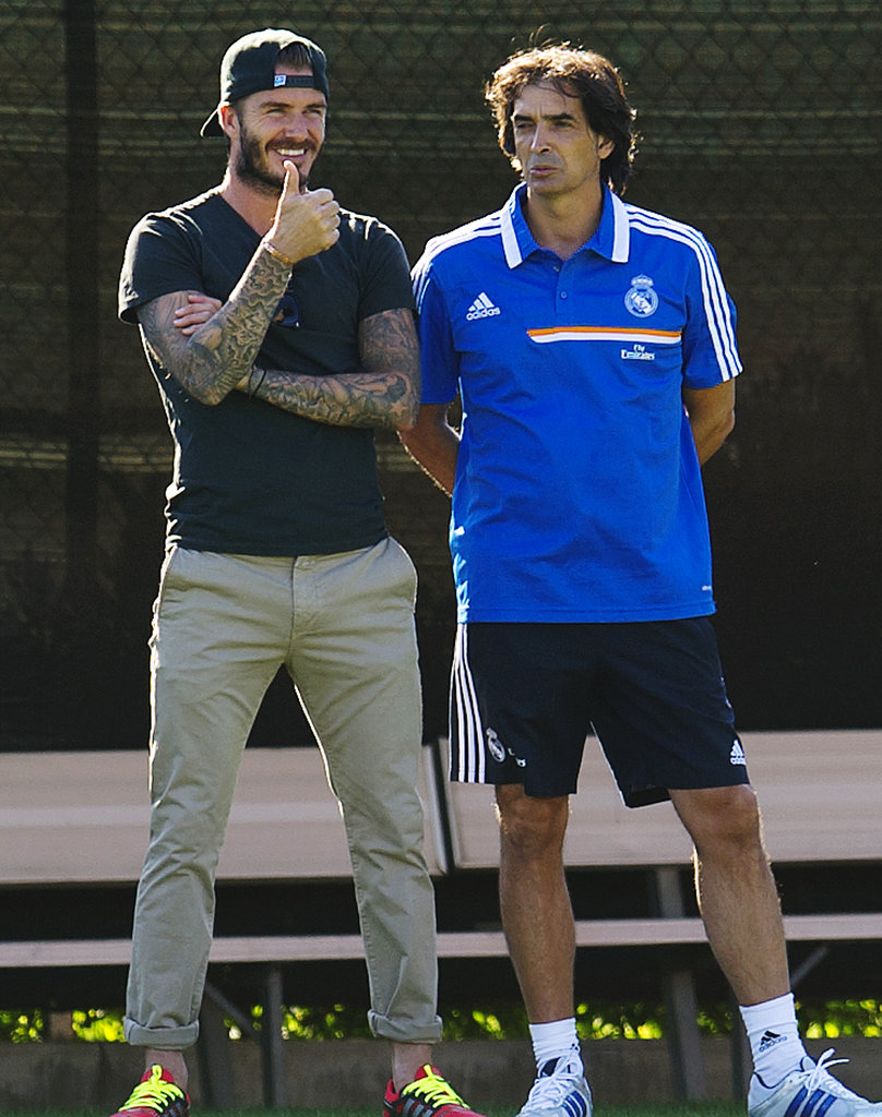David Beckham gave a thumbs-up while watching Real Madrid practice at UCLA.