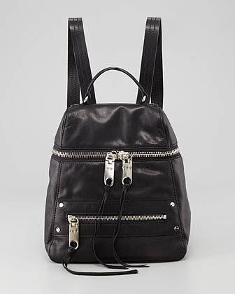 Milly Riley Leather Backpack, Black
