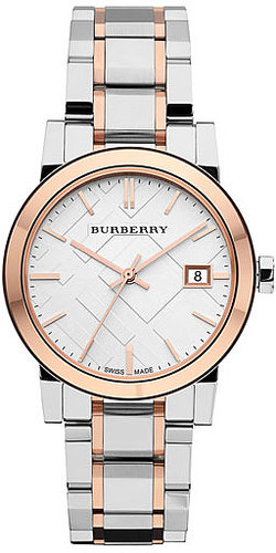 Burberry Medium Check Stamped Bracelet Watch, 34mm Silver/ Rose Gold