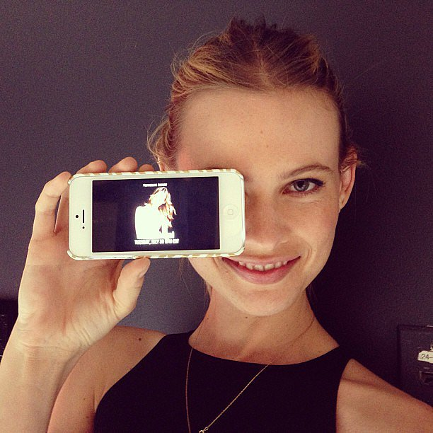 Behati Prinsloo got prepped to do a Twitter chat for Victoria's Secret. Source: Instagram user victoriassecret