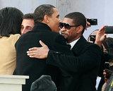In January 2009, President Obama gave Usher a hug during his inaugural celebration in Washington DC.