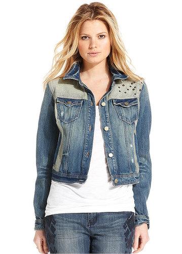 DKNY Jeans Jacket, Long-Sleeve Patchwork Denim