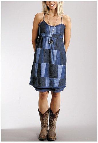 Stetson Patchwork Denim Sun Dress - Sleeveless (For Women)