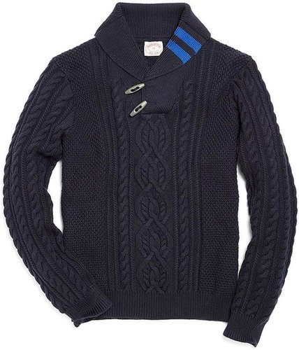 Cotton Cashmere Aran Cable Shawl Collar Sweater