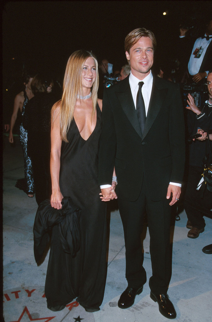 The actress arrived — with then-husband Brad Pitt — at the Vanity Fair Oscars party looking superchic in a plunging black gown and sparkling diamond choker in 2000.