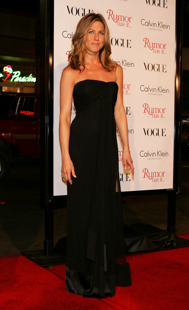 A sheer-panel strapless black gown was Aniston's go-to for the Rumor Has It premiere in December 2005.