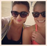 Miranda Kerr was all smiles after working out with a friend.  Source: Instagram user mirandakerr