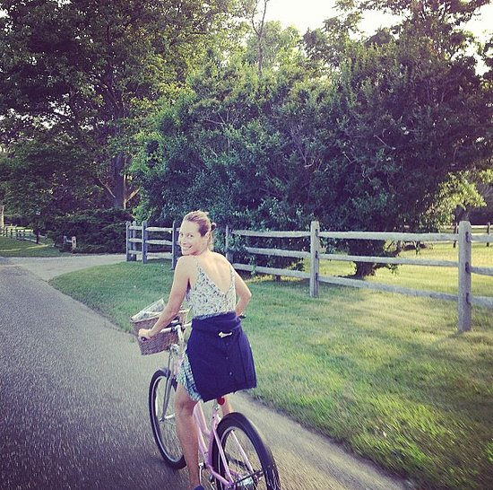 During a bike ride through the countryside, Christy Turlington was snapped with a huge smile on her face. Source: Instagram user cturlington