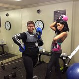 Even after a sweaty cardio kickboxing session, Brandy still managed to look amazing.  Source: Instagram user 4everbrandy