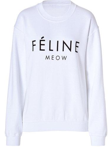 Brian Lichtenberg Cotton Blend Feline Sweatshirt in White/Black