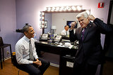 Jay Leno had President Obama cracking up backstage during his trip to The Tonight Show With Jay Leno in October 2011. Source: Flickr user The White House