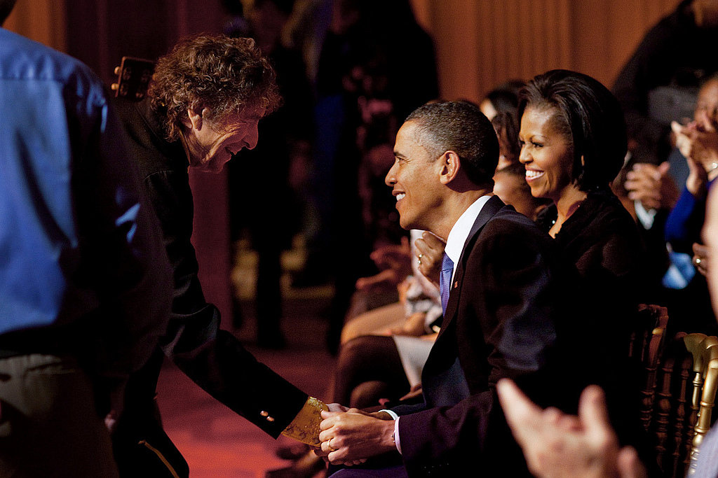 President Obama shook hands with Bob Dylan after the musician performed at the White House in February 2010. Source: Flickr user The White House