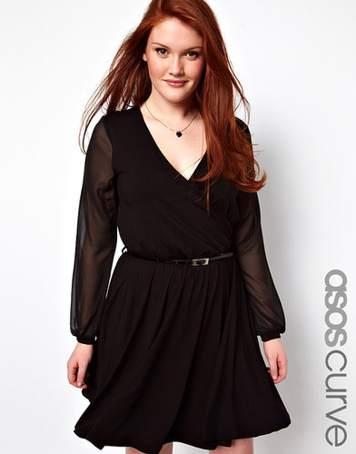 ASOS CURVE Wrap Dress With Chiffon Sleeves