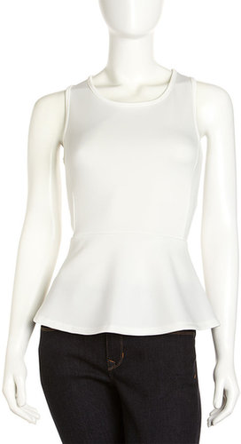 Romeo & Juliet Couture Scuba Jersey Peplum Top, Ivory