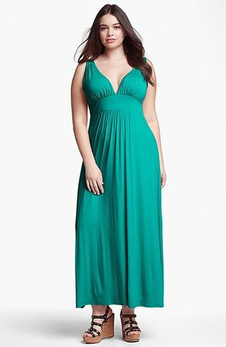 Loveappella V-Neck Jersey Maxi Dress (Plus Size) Jade 3X