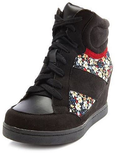 Sueded Floral Inset Wedge Sneaker