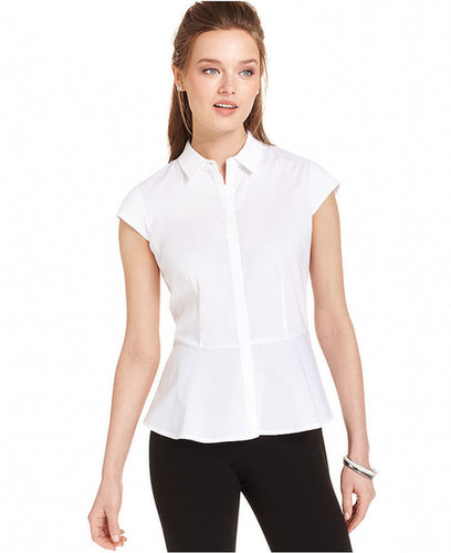 Anne Klein Top, Cap-Sleeve Peplum Shirt