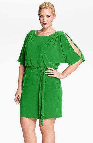 Jessica Simpson Cold Shoulder Matte Jersey Blouson Dress (Plus Size) Green 3X