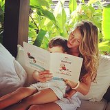 Gisele Bündchen and Benjamin Brady got comfortable reading a book together.  Source: Instagram user giseleofficial