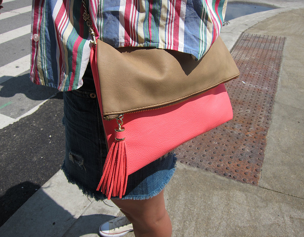 The official music-fest investment piece might very well be the mini crossbody. This colorblock tan-and-coral envelope version from H&M goes perfectly with rainbow-striped flannel.