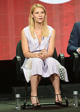 Claire Danes was perfectly ladylike in a sheer-paneled shirtdress and Christian Louboutin T-strap pumps while chatting on a panel about Homeland.