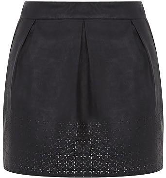 Petite black leather look skirt