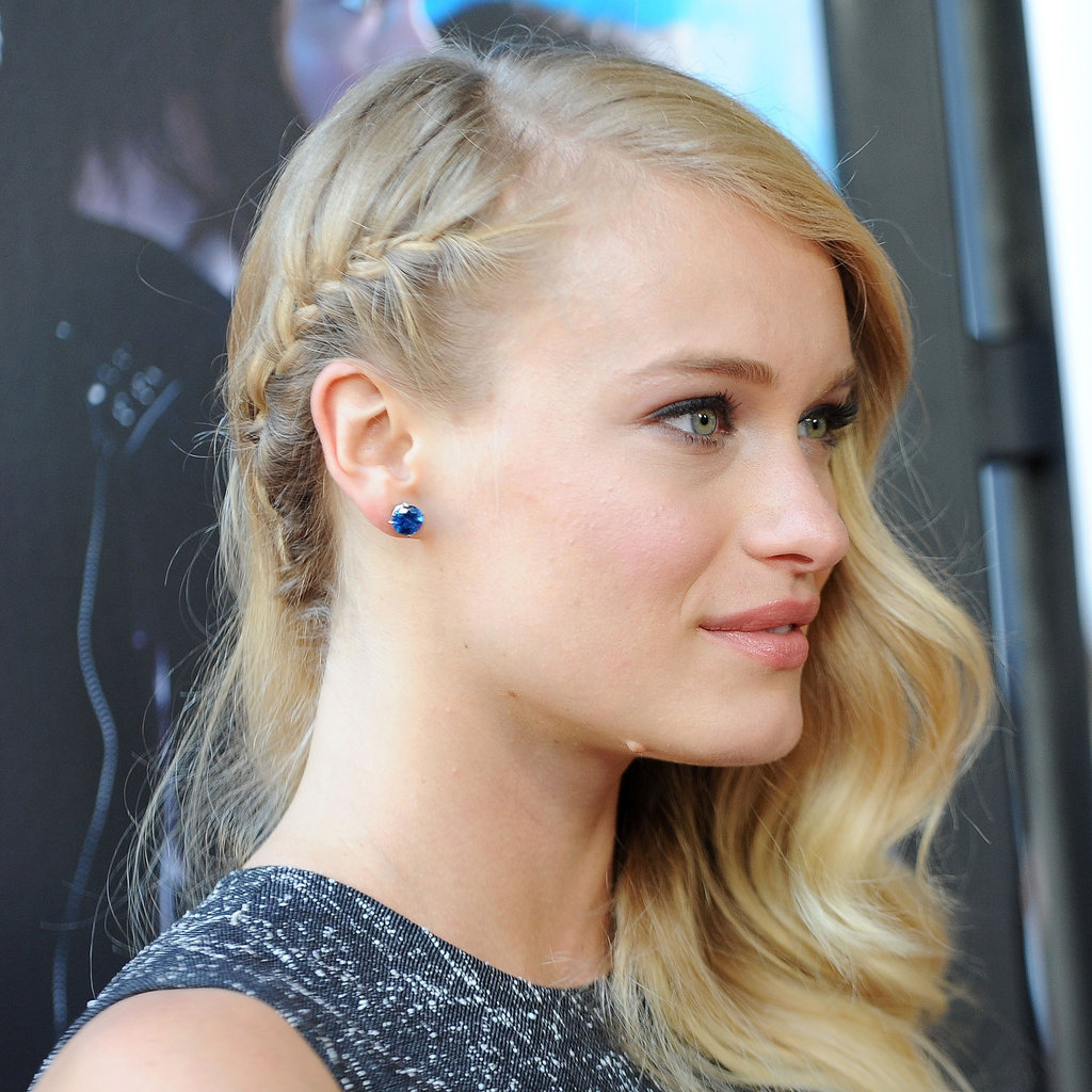 At the premiere of Percy Jackson: Sea of Monsters, actress Leven Rambin wore a single french braid that went behind her ear.