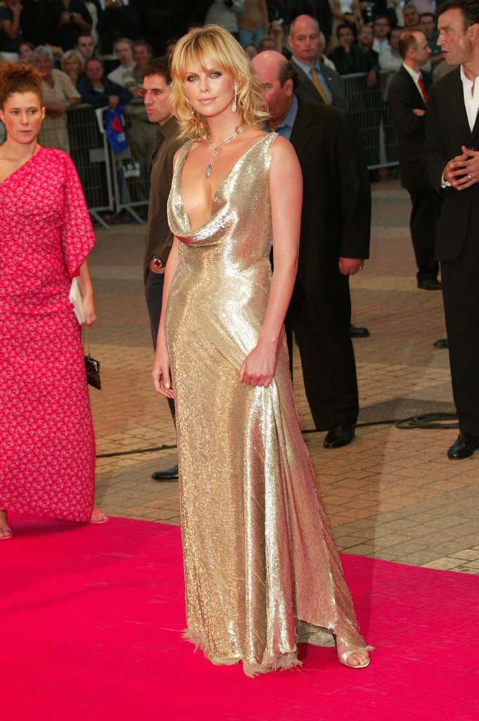 Charlize Theron wore a dress with a plunging neckline at a premiere for The Italian Job in September 2003.
