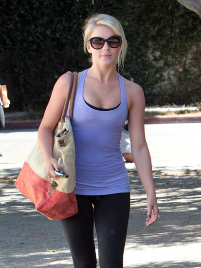 Julianne Hough looked pretty in purple after taking a Pilates class in West Hollywood. See the rest of Julianne's diet and fitness routine here!