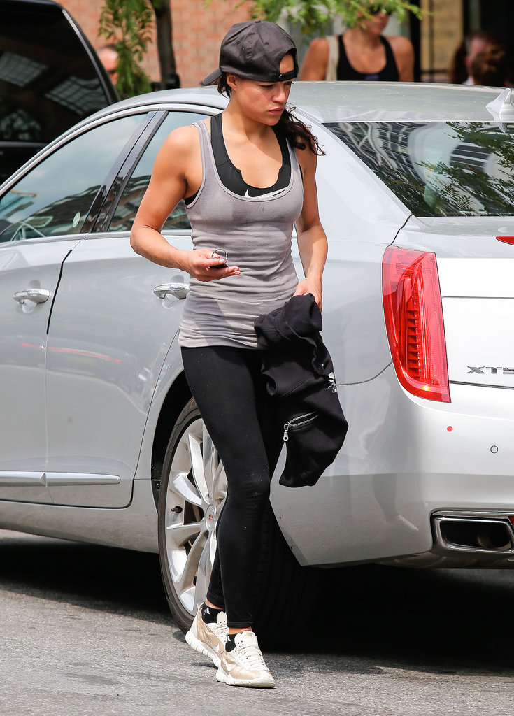 Actress Michelle Rodriguez doesn't abandon her fitness routine — even when traveling. She's been spotted several times this week working out in New York City.