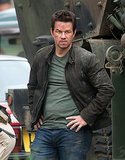 Mark Wahlberg looked beat up on the set of Transformers 4 on Wednesday in Detroit, MI.
