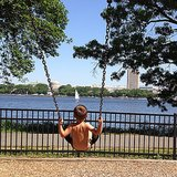 Benjamin Brady played on a playground in Boston.  Source: Instagram user giseleofficial