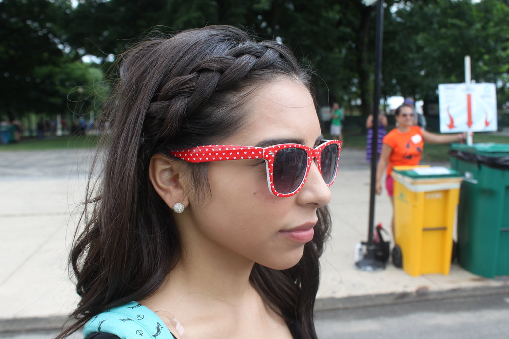 Alejandra went with a quick headband braid to keep hair out of the way. We're loving those polka-dot shades, too.