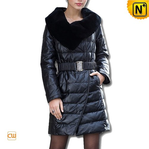 Black Long Leather Down Coat CW610029 - cwmalls.com