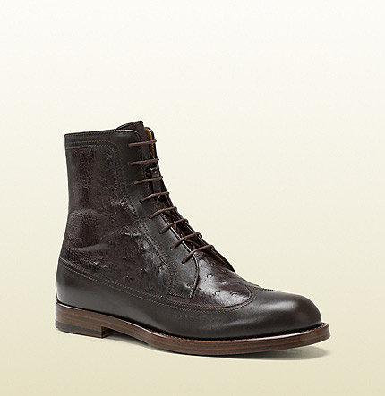 Brown Leather And Ostrich Lace-Up Boot